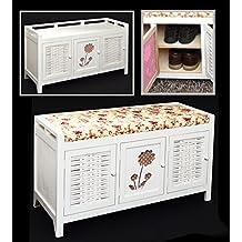 ts-ideen - Banco con estante para zapatos, diseño rústico, color blanco