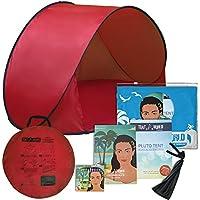Tienda de playa Pluto roja: ¡Un accesorio increíble para la comodidad de sus hijos! Tienda para niños ligera y de lujo con bolsa de transporte. Mantenga a su bebé alejado del calor del sol, del viento y la lluvia