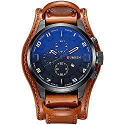 Mens Watches Blue Ray Glass Quartz Analog Watches Comfortable Brown Leather Band Date Wrist Watch for Man