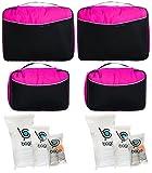 Packwürfel 4pcs Wert Set für Reisen - Plus 6pcs Gepäck Veranstalter Zip Beutel (Pink) -
