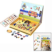 LHKJ Educational Toys Magnetic Puzzle, Double Face Jigsaw& Drawing Easel Chalkboard Educational Learning Toys for 3-6 Year Old Children Kids Toddlers
