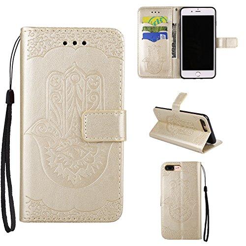 Hülle für iPhone 7 plus , Schutzhülle Für IPhone 7 Plus, geprägtes Floweer Muster Retro Art PU-lederner Fall-Abdeckung mit Mappen-Beutel u. Lanyard u. Kickstand ,hülle für iPhone 7 plus , case for iph Gold