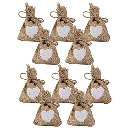Tinksky Borse di cuore stampa iuta sacco sacchetto con coulisse matrimonio regalo borse Candy confezione da 10 pz