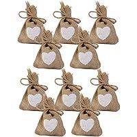Tinksky Corazón grabado yute saco bolsa lazo boda regalo bolsas dulces bolsas paquete de 10 piezas
