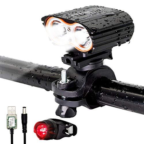 Lospu HY 2400LM CREE 2X XML-T6 Fahrradlampe Fahrradbeleuchtung Frontlichter mit 2x 18650Akku ,1 Ladegerät und Fahrradlicht Rücklicht ,Perfekt Für die Jagd, Fischen, Radfahren, Klettern, Camping und andere Outdoor-Aktivitäten