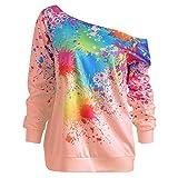 Pullover Damen, Sweatshirt Plue Size Langärmlige T-Shirt Mode Patchwork Pullover Mit V-Ausschnitt Und Rüschen Unregelmäßig Lose Lange Ärmel Bluse Tops Resplend