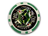 Makant EF-ME-19198 Poker Chips Casino Deluxe 50 ´er Auswahl (Laser 10$ Grün)