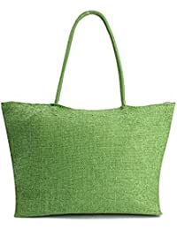 Green : ETGtek(TM) Woman Straw Summer Style Shoulder Tote Woven Casual Bag Shopping Beach Bag Shopping Travel...