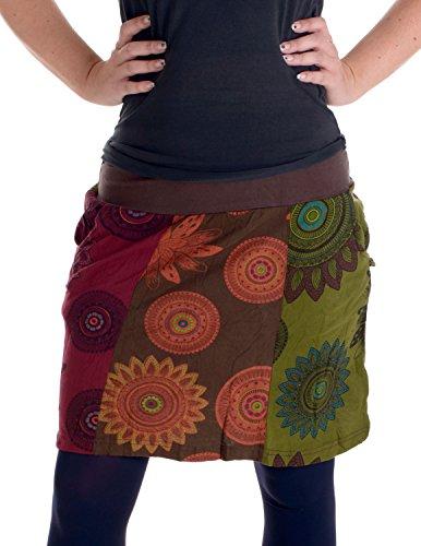 Vishes - Alternative Bekleidung – Mit Blumen bedruckter Patchworkrock aus Baumwolle – mit Taschen braun 44/46
