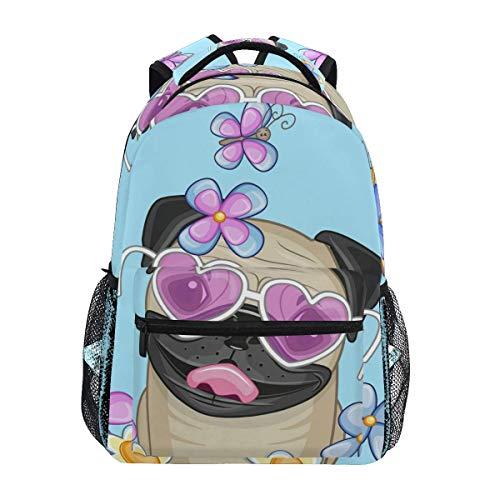 CVDGSAD Schmetterling Mops Welpe Bookbag Schüler Rucksack für Reisen Teen Girls Boys Kid -
