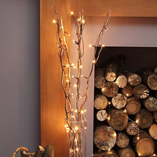 strombetriebene, beleuchtete, schneebedeckte, Herbst/Winter-Deko, 5 Zweige Weide, 90cm, mit 50 LEDs in warmweiß...