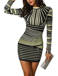 CHICME BEST SHOPPING DEALS Damen Gradient Farben Streifen Bodycon Mini Kleid b39eb70775