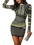 CHICME BEST SHOPPING DEALS Damen Gradient Farben Streifen Bodycon Mini Kleid Gelb S