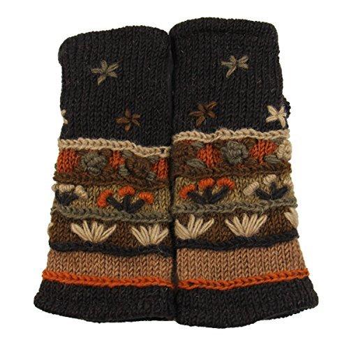 RW Hand Knit 100% Wool Fleece Lined Hand Warmer/Glove (Dark Brown)