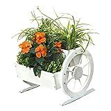 Melko® Pflanzkübel mit Wagenräder, aus Holz, weiß, 44 × 42 x 40 cm, Pflanzkarre Pflanzwagen Blumenkübel