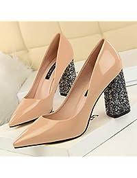 Yukun zapatos de tacón alto Zapatos De Tacón Alto De Otoño Salvajes Gruesos  con Zapatos De Mujer Boca Poco Profunda Zapatos De Verano… 7ec9cba653d