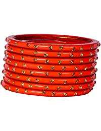 Dulari Stone Embellished Orange Lac Round Simple Bangles For Women (Set Of 8 Bangles)