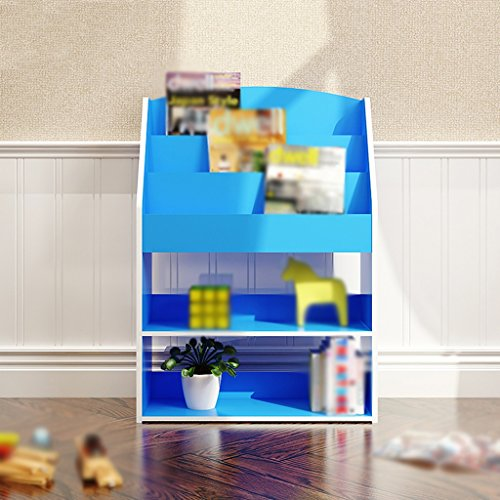 FJXLZ® Bücherregal Buchständer 62.4 (lang) * 24 (Breite) * 89 (hoch) Cm Schlafzimmer Bücherregal Wohnzimmer Regal Creative Cut Off Pink Blau Faltbar und einstellbar ( Farbe : #2 ) (Blau Bücherregal)