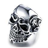 Bishilin Edelstahl Ring Herren Punk Schädel Totenkopf Partnerring Gothic Ring Silber Größe 67 (21.3)