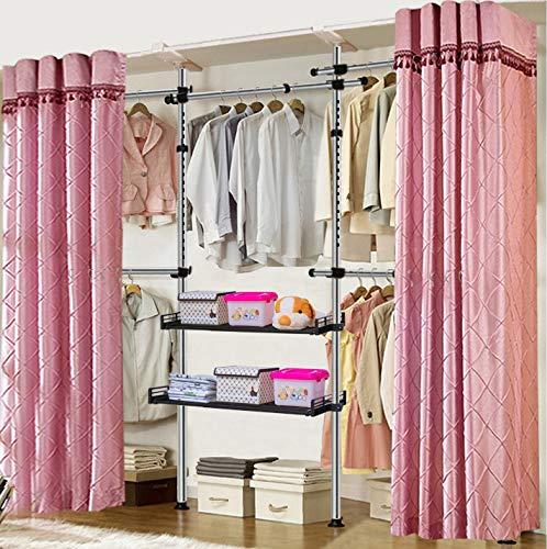 Indoor Garment Hanger Tools Teleskop-Garment Wardrobe Veranstalter Einfach Zu Montieren Kleidung Garderobe 4 Polen 5 Bars Mit 2 Retractable Tray,SlideRails+PurpleCurtains