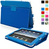 Snugg iPad 1 Leather Case in Electric Blue - Flip Stand Cover with Stylus Loop and Premium Nubuck Fibre Interior for Apple iPad 1