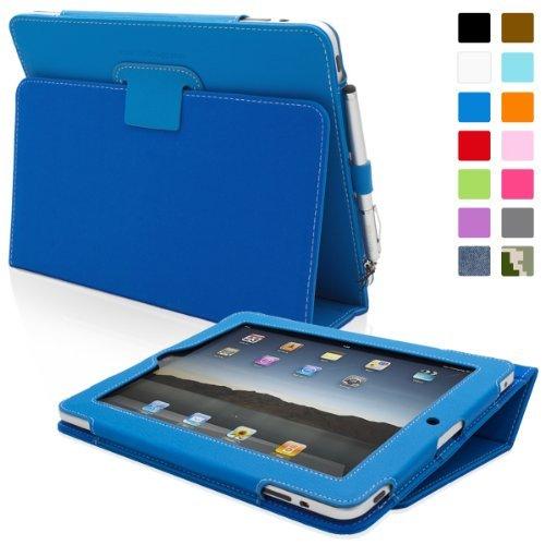 Custodia Snugg per iPad 1 in pelle, colore: Blu elettrico - Custodia con supporto flip-stand, cinturino elastico per il polso, passante elastico per penna e rivestimento interno di qualità in nabuk - Capacità automatica di riattivare o mettere in modalità a riposo il vostro Apple iPad 1