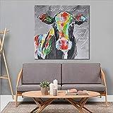 QSBY Abstract handbemaltes Ölmädchen Milch Kuh Malerei grün gelb-Schwarze Kuhwandkunst für Hotel-Büro-Studie Bar Dekoration innen gerahmt