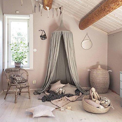 Preisvergleich Produktbild Baby Betthimmel Baldachin Baumwolle Rund Moskitonetz Insektenschutz Kinder Prinzessin Spielzelte Dekoration fürs Kinderzimmer (Grau)