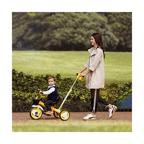 3 In 1 Kids' Trikes 18 Months To 6 Years 360° Swivelling Saddle Seat Can Be Adjusted Back Kids Tricycle Detachable And Adjustable Push Handle 3 Wheel Baby Bike Maximum Weight 25 Kg,Orange BGHKFF ★Material: High carbon steel frame, sturdy, lightweight, durable; suitable for children aged 1.5-6, maximum weight 25 kg ★ 3-in-1 multi-function: convertible into a trolley and a pedal tricycle. Remove the hand putter as a tricycle. ★Safety design: golden triangle structure, safe and stable; front wheel clutch, will not hit the baby's foot; 2 point seat belt 9