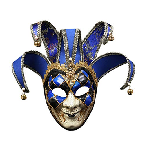 Blut-baby-puppe Shirt (Lazzboy Maskerade Maske Harz Musik Karneval Wand Ostern Dekoration Geschenk Venezianische Gesichtsmaske Joker Fasching Maskenball(Blau))