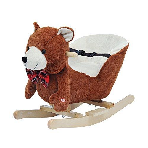 Homcom Schaukelpferd Kinder Schaukeltier Plüsch Schaukel Pferd Baby Schaukelspielzeug Geschenk für Kinder - Weihnachtsgeschenke (Schaukelbär mit Lied)