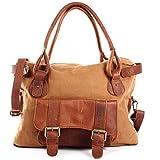 LECONI Henkeltasche Canvas + Echtleder Damentasche Retro-Look Handtasche Damen Vintage Schultertasche für Frauen 38x29x11cm braun cognac LE0050-C