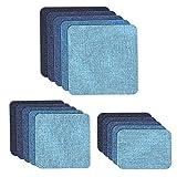 Muscccm Patches Zum aufbügeln, 15 Stück 5 Farben DIY Aufbügelflicken Bügelflicken Denim Baumwolle Patches Bügeleisen Reparatursatz 3 Größen (5 x 5 Zoll, 3 x 3 Zoll, 2 x 3 Zoll)