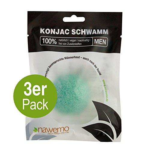 Éponge konjac menthe poivrée MEN, pour la peau des hommes (Pack de 3)