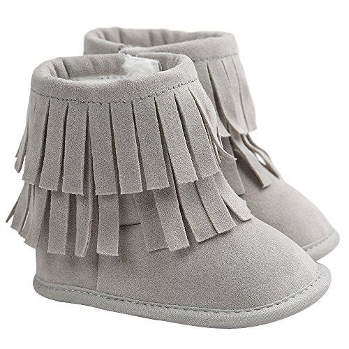Gosear Kinder Kleinkind Mädchen Jungen Winter warme Schneestiefel Quasten Getrimmte Stiefel Schuhe Krabbelschuhe Babys Schuhe für 6-12 Monate Hell Grau