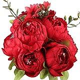 Ksnrang Fausses Fleurs Ancien Pivoine Artificielle Fleurs en Soie Bouquet Mariage Accueil Décoration (Printemps Rouge)