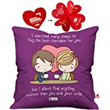 indibni Your Smile is Sweetest Cushion Cover 12x12 with Filler - Purple Attractive Love Print Gift for Boyfriend Girlfriend