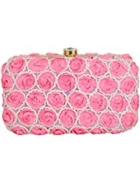 Tooba Handicraft Women's Clutch (Pink, Pink Pearl Small Rose 7X4)