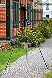 Korono Edelstahl Gulaschkessel Topf | Gulaschtopf | Feuertopf 14 Liter inklusive Dreibein Gestell - unkonventionellen & traditionellen kochen