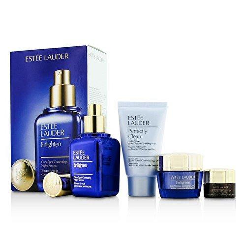Estee Lauder Skintone/Spot Correction Set: Enlighten Serum 50ml + Creme 15ml + ANR Eye Complex II 5ml + Perfectly Clean 30ml 4pcs (Estee Creme Lauder Eye)