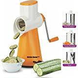 [Sponsored Products]Kitchen Bazaar Premium Drum Grater Shredder Slicer For Vegetables,Fruits,Chocolates,Dry-Fruits ,Pasta Salad Maker With 3 Stainless Steel Blades, Orange