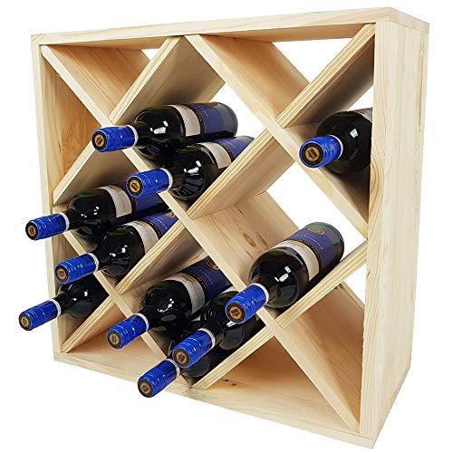 SunDeluxe Casier à vin Bacchus en Forme de Losange - Casier à Bouteilles de vin de 52 x 52 x 25 cm - Étagère à Bouteilles pour 24 Bouteilles, Couleur:Nature/Écru