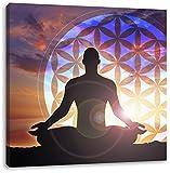 Pixxprint LFQ1046_70x70 erleuchtende Meditation mit Blume des Lebens Format auf Leinwand, fertig gerahmt mit Keilrahmen, Kunstdruck, Kein Poster Oder Plakat