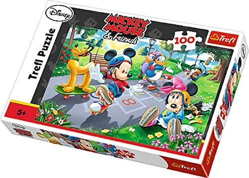 Puzzles Micki Mickey Mouse Maus Pluto Minnie Daisy rollschuhfahren Motiv 100 Teile ab 5 Jahre Geschenk Idee für Mädchen Jungen Ostern Geburtstag Weihnachten Mitbringsel ()