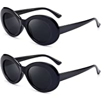 2 Pcs Sunglasses Retro Oval Goggle,Vintage Clout Sunglasses(White/Black)