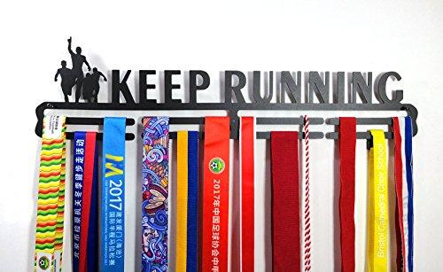 shangmaidianzi Sport Medaillenhalter Medaille Aufhänger Display Keep Running Metall Carbon Stahl zwei Stufe Professionelle Wandhalterung