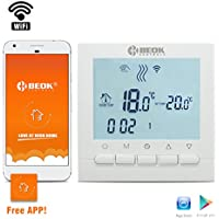 Termostato programable Beok BOT-313para caldera de gas, WiFi, pantalla LCD, programable, controlador de temperatura ambiente, aplicación gratuita Mando a distancia en línea a través de smartphone, AC220V 3A., blanco, 220.00 voltsV