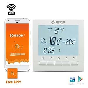 beok thermostat pour chaudi re gaz programmable bot 313 wifi pour contr le de la temp rature. Black Bedroom Furniture Sets. Home Design Ideas