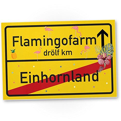 DankeDir! Einhorn Flamingo Kunststoff Schild/Ortsschild (30 x 20cm), süße Wanddeko, Deko Türschild Mädchen-Zimmer, Geschenkidee Geburtstags-Geschenk, Lustige Überraschung – Beste Freundin