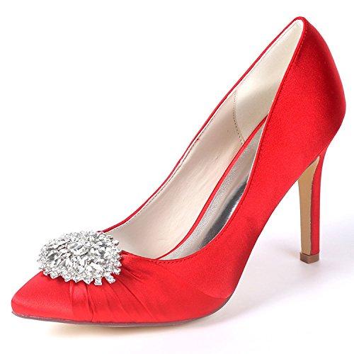 Elobaby Frauen Hochzeit Schuhe Strass Kätzchen Herbst Dame Sparkly Prom Brautjungfern High Heels / 9.5cm Ferse, Red, 39